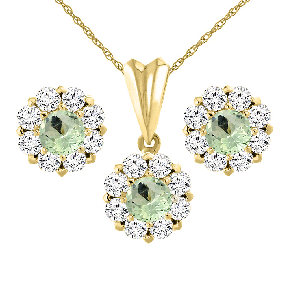 14K Yellow Gold Natural Green Amethyst Earrings and Pendant Set with Diamond Halo Round 6 mm