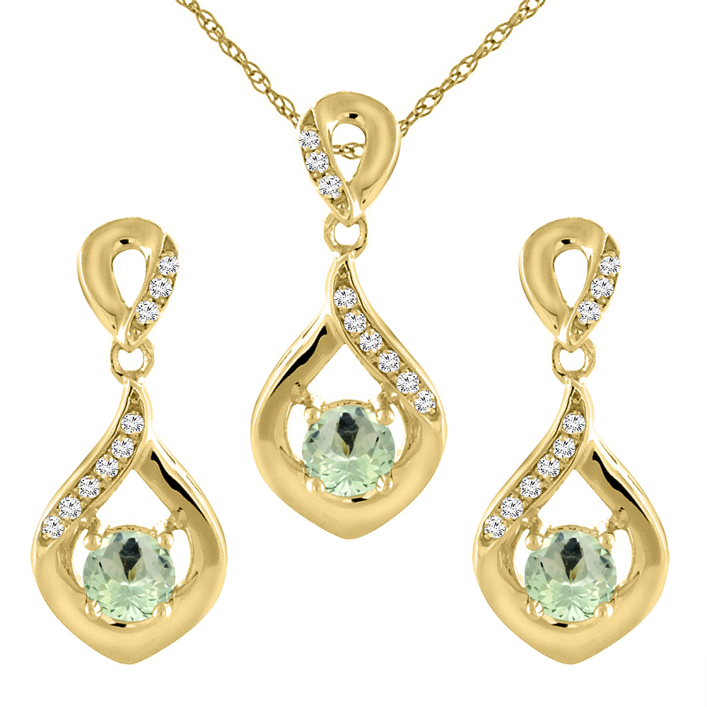 14K Yellow Gold Natural Green Amethyst Earrings and Pendant Set with Diamond Accents Round 4 mm