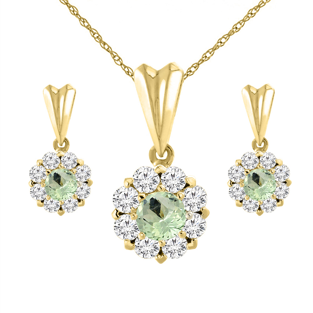 14K Yellow Gold Natural Green Amethyst Earrings and Pendant Set with Diamond Halo Round 4 mm
