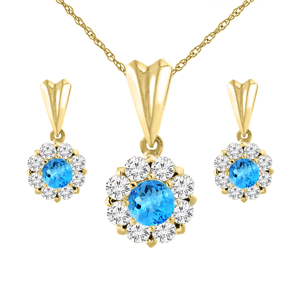 14K Yellow Gold Natural Swiss Blue Topaz Earrings and Pendant Set with Diamond Halo Round 4 mm