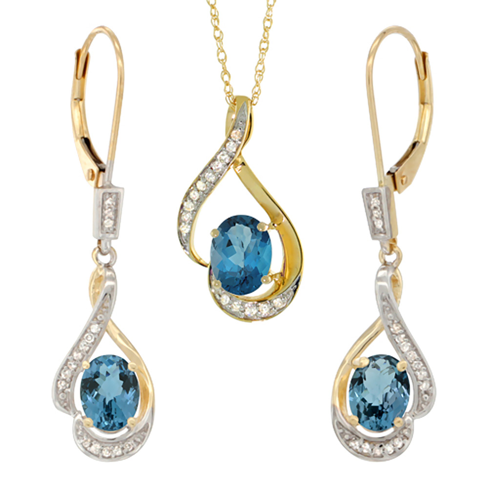 14K Yellow Gold Natural London Blue Topaz Lever Back Earrings & Pendant Set Diamond Accent