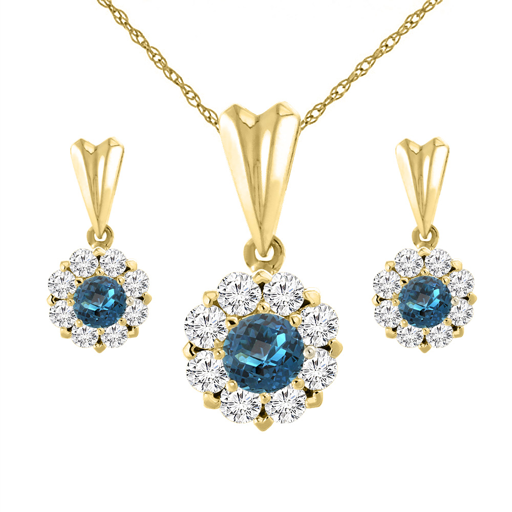 14K Yellow Gold Natural London Blue Topaz Earrings and Pendant Set with Diamond Halo Round 4 mm