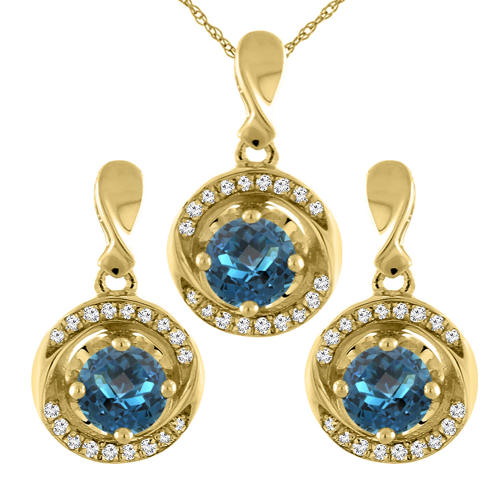 14K Yellow Gold Natural London Blue Topaz Earrings and Pendant Set with Diamond Accents Round 4 mm