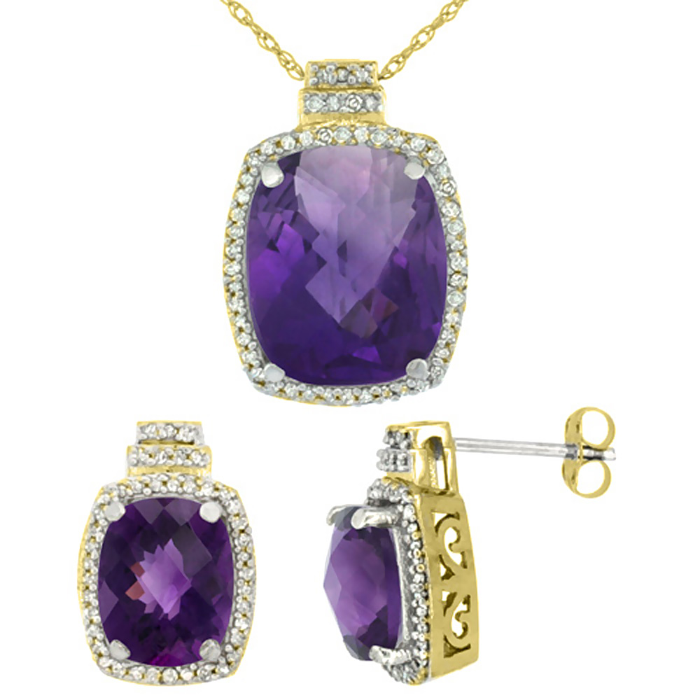 10K Yellow Gold Diamond Natural Amethyst 8x6mm Earrings & 11x9mm Pendant Set Octagon Cushion