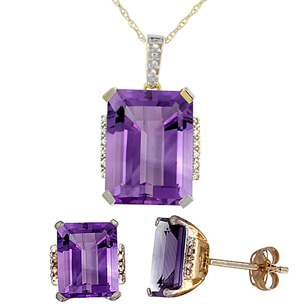 10K Yellow Gold Natural Octagon Amethyst Earrings & Pendant Set Diamond Accents