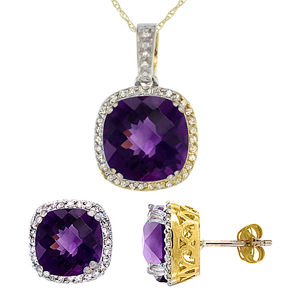10K Yellow Gold Natural Cushion Amethyst Earrings & Pendant Set Diamond Accents