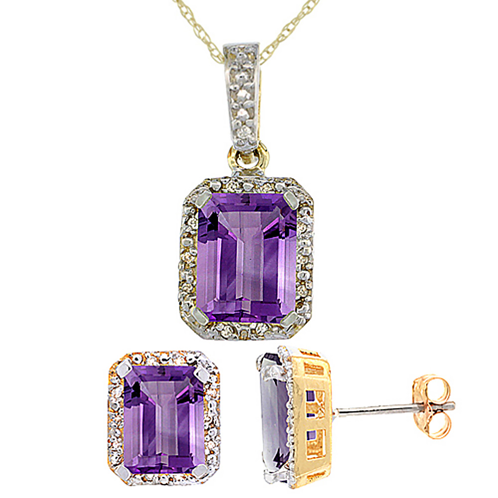 10K Yellow Gold Natural Octagon 8x6 mm Amethyst Earrings & Pendant Set Diamond Accents