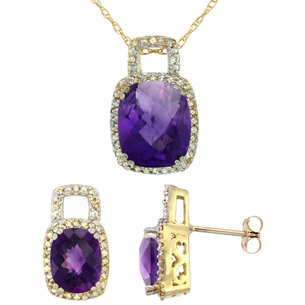 10K Yellow Gold Natural Octagon Cushion Amethyst Earrings & Pendant Set Diamond Accents