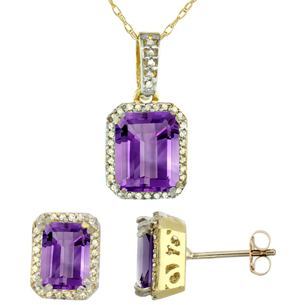 10K Yellow Gold Diamond Natural Octagon Amethyst Earrings & Pendant Set