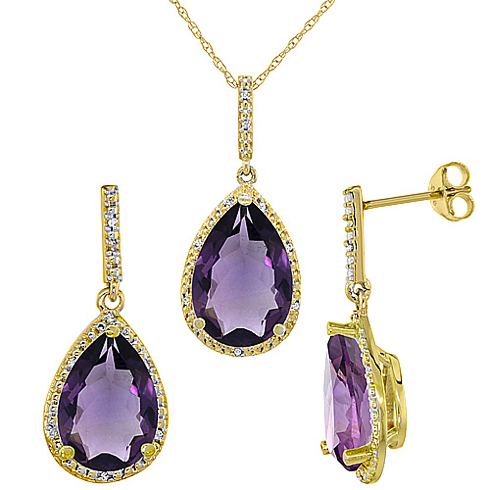 10K Yellow Gold Diamond Natural Amethyst Earrings Necklace Set Pear Shaped 12x8mm & 15x10mm, 18 inch long
