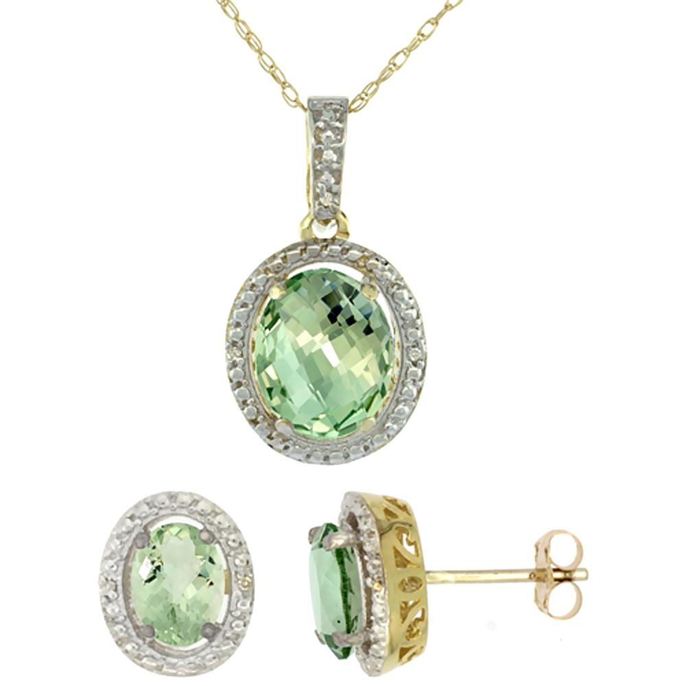 10K Yellow Gold Diamond Natural Green Amethyst Oval Earrings & Pendant Set