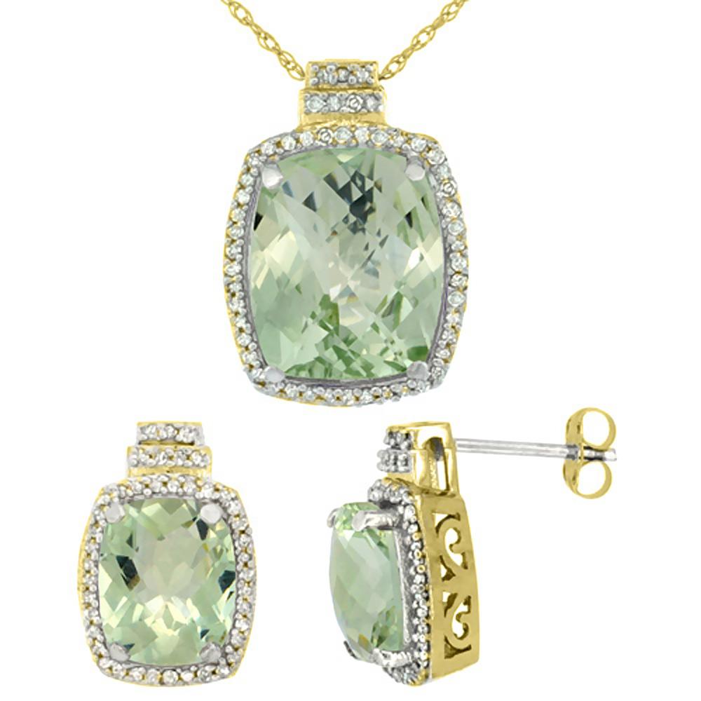 10K Yellow Gold Diamond Natural Green Amethyst 8x6mm Earrings & 11x9mm Pendant Set Octagon Cushion