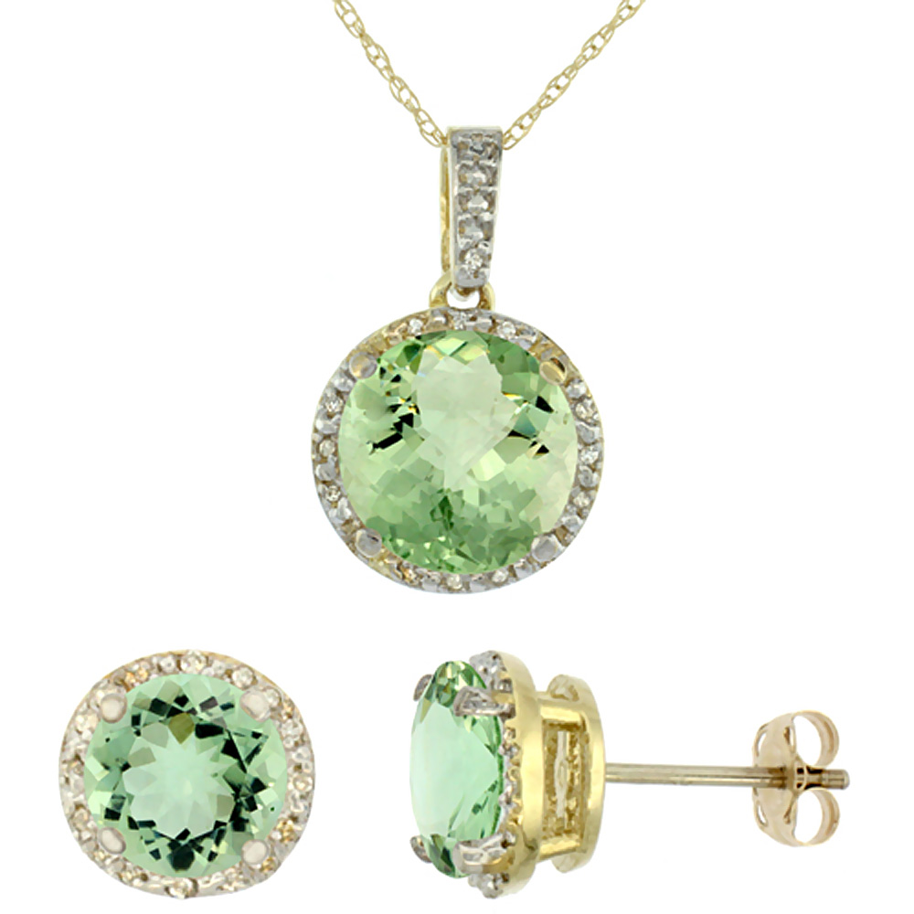 10K Yellow Gold Natural Round Green Amethyst Earrings & Pendant Set Diamond Accents