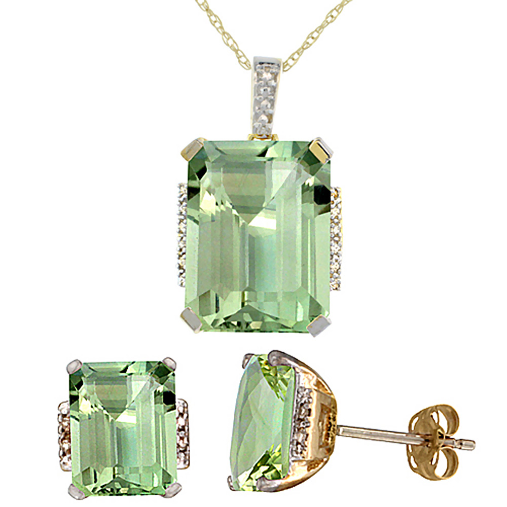 10K Yellow Gold Natural Octagon Green Amethyst Earrings & Pendant Set Diamond Accents