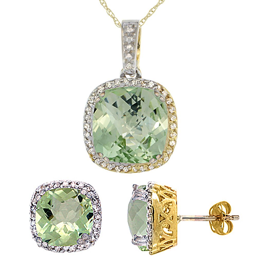10K Yellow Gold Natural Cushion Green Amethyst Earrings & Pendant Set Diamond Accents