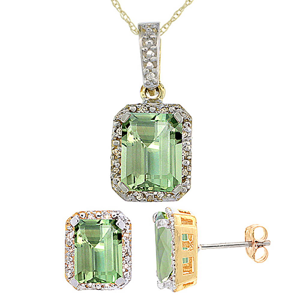 10K Yellow Gold Natural Octagon 8x6 mm Green Amethyst Earrings & Pendant Set Diamond Accents