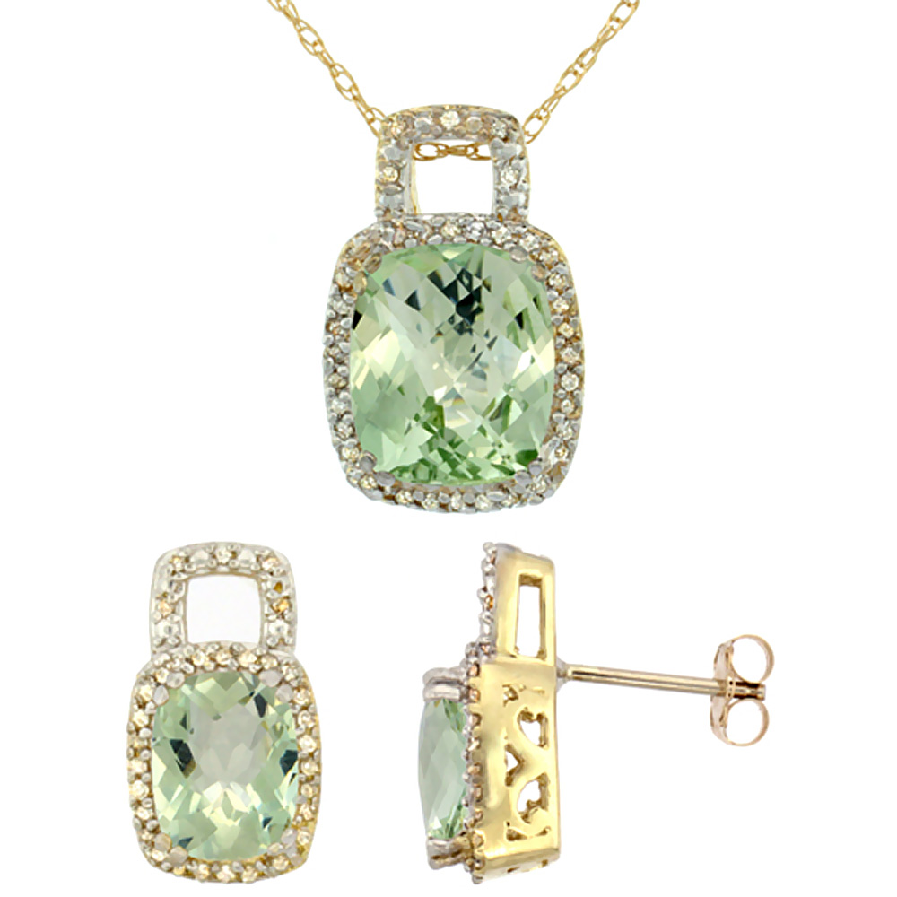 10K Yellow Gold Natural Octagon Cushion Green Amethyst Earrings & Pendant Set Diamond Accents
