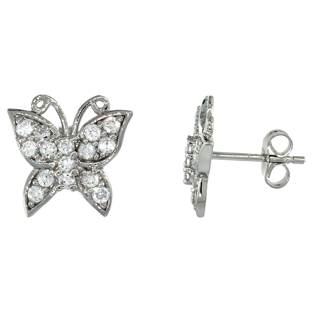 Sterling Silver Butterfly Post Earrings w/ Brilliant Cut CZ Stones, 1/2 in. (12 mm) tall