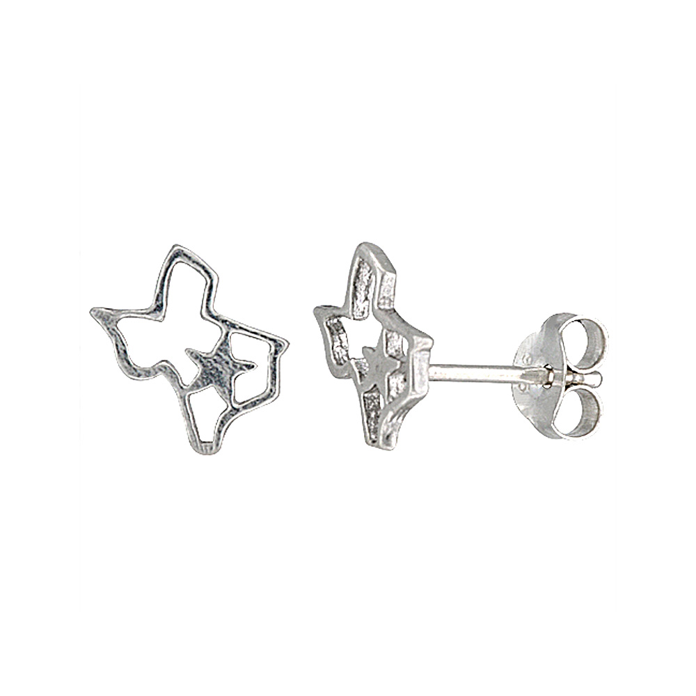 Tiny Sterling Silver Texas Stud Earrings 5/16 inch