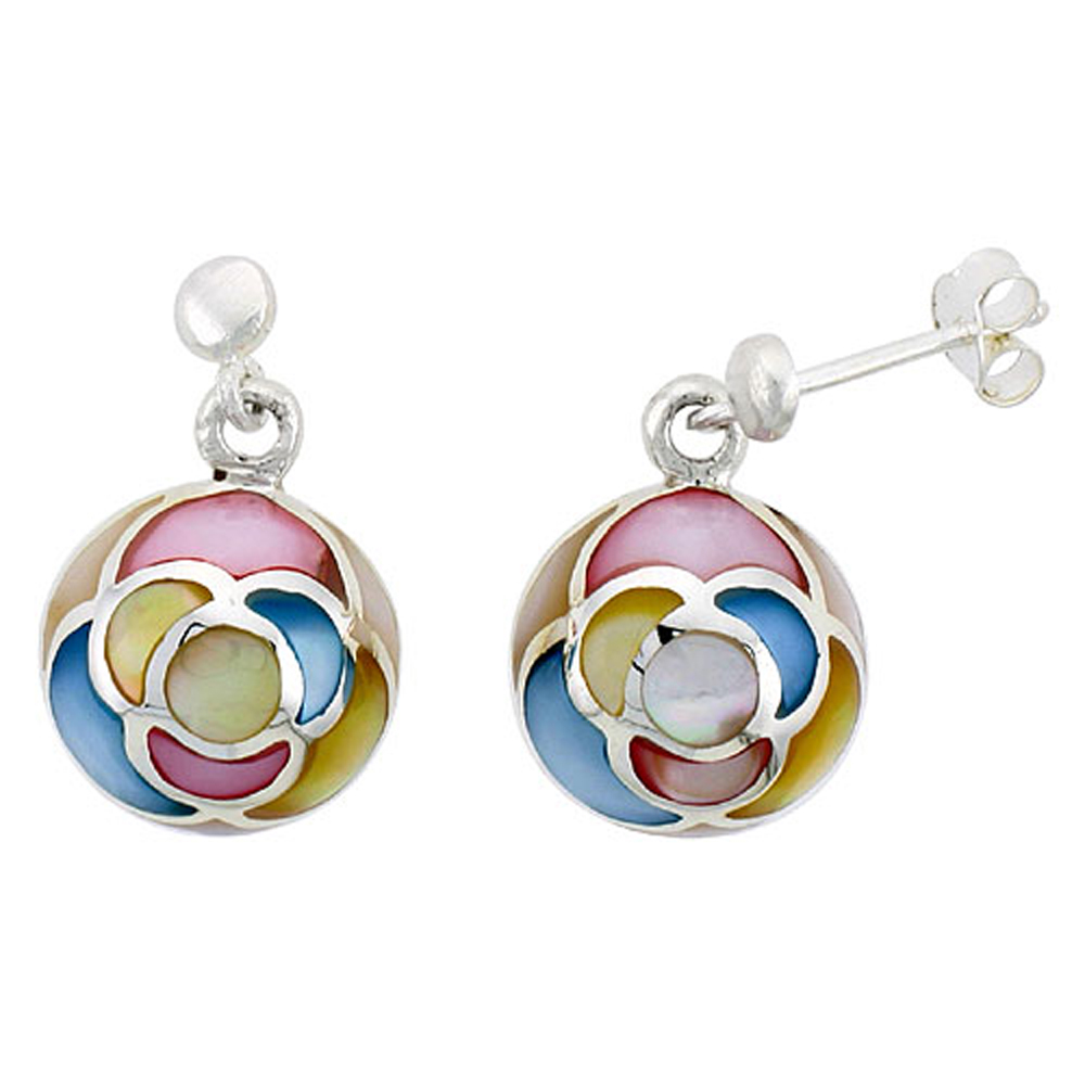 "Sterling Silver Round Pink, Blue, Light Yellow & White Mother of Pearl Inlay Earrings, 1/2"" (13 mm) tall"