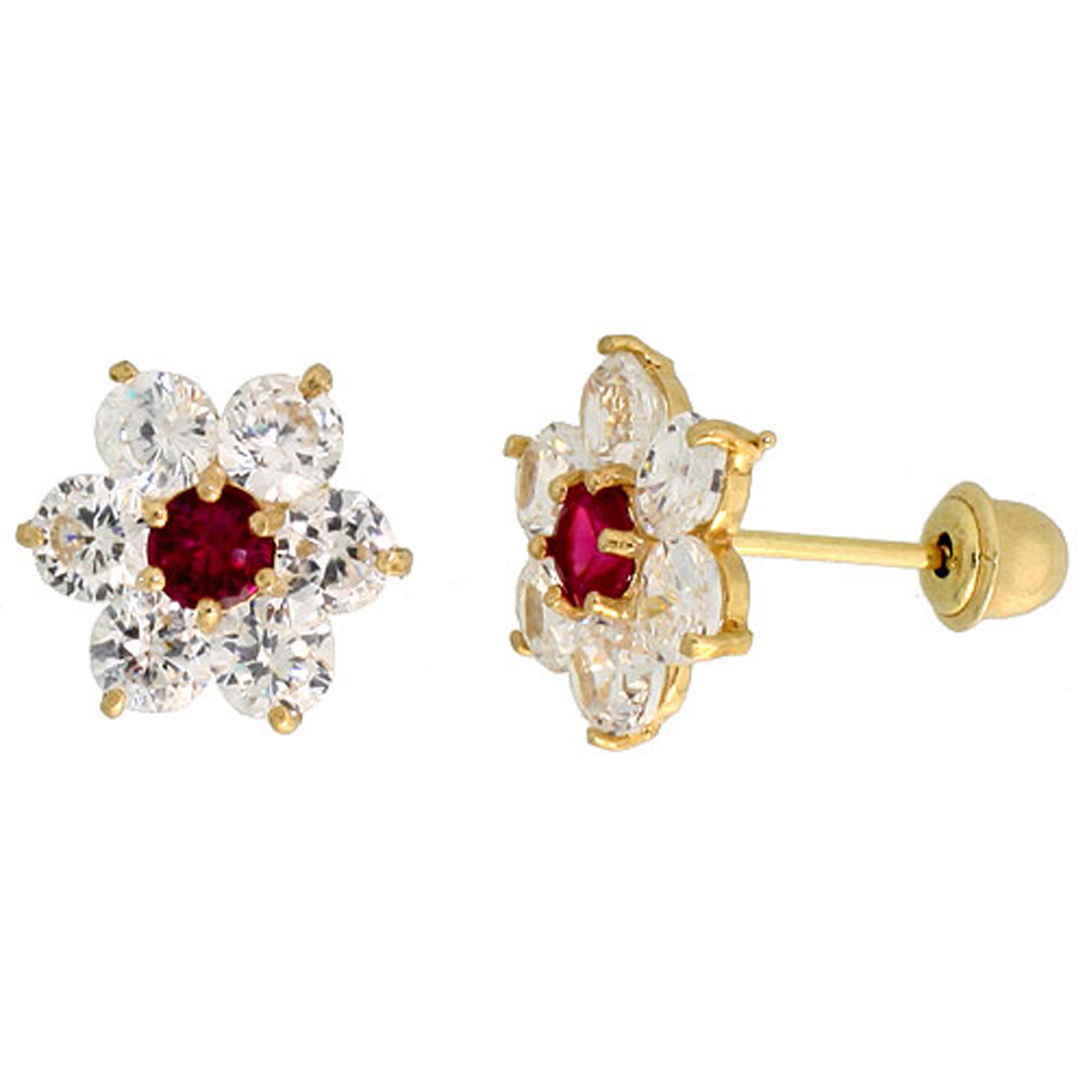 14k Gold Flower Stud Earrings Red & white Cubic Zirconia Stones, 5/16 inch (9mm)