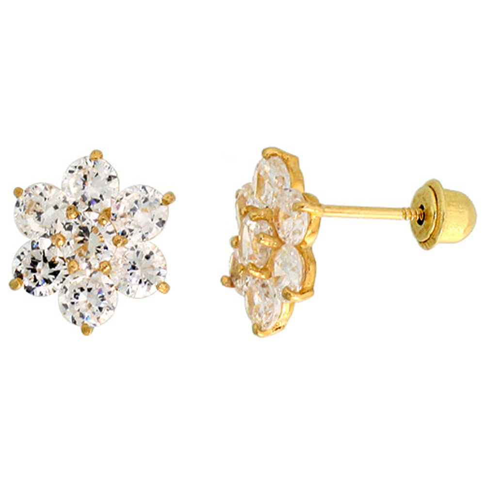 14k Gold Flower Stud Earrings White Cubic Zirconia Stones, 5/16 inch (9mm)
