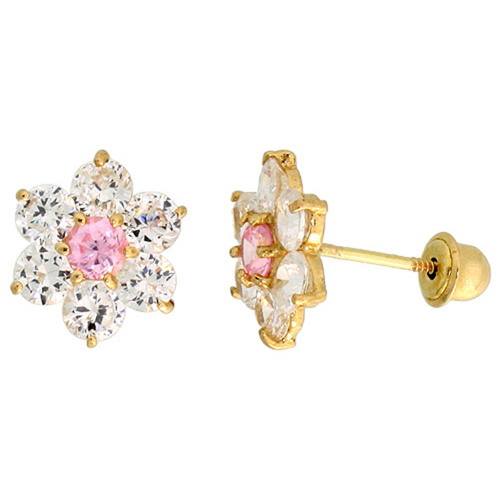 14k Gold Flower Stud Earrings Pink & white Cubic Zirconia Stones, 5/16 inch (9mm)