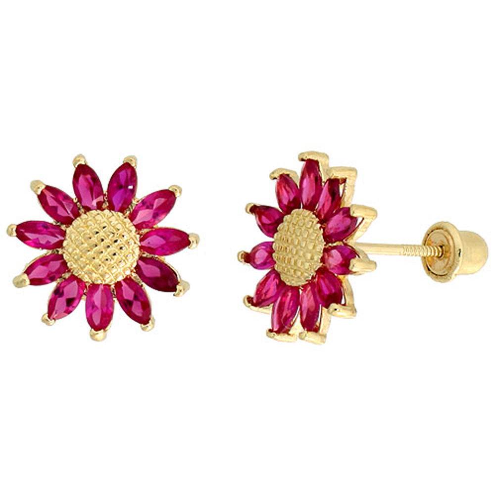 14k Gold Sunflower Stud Earrings Red Cubic Zirconia Stones, 3/8 inch (10mm)