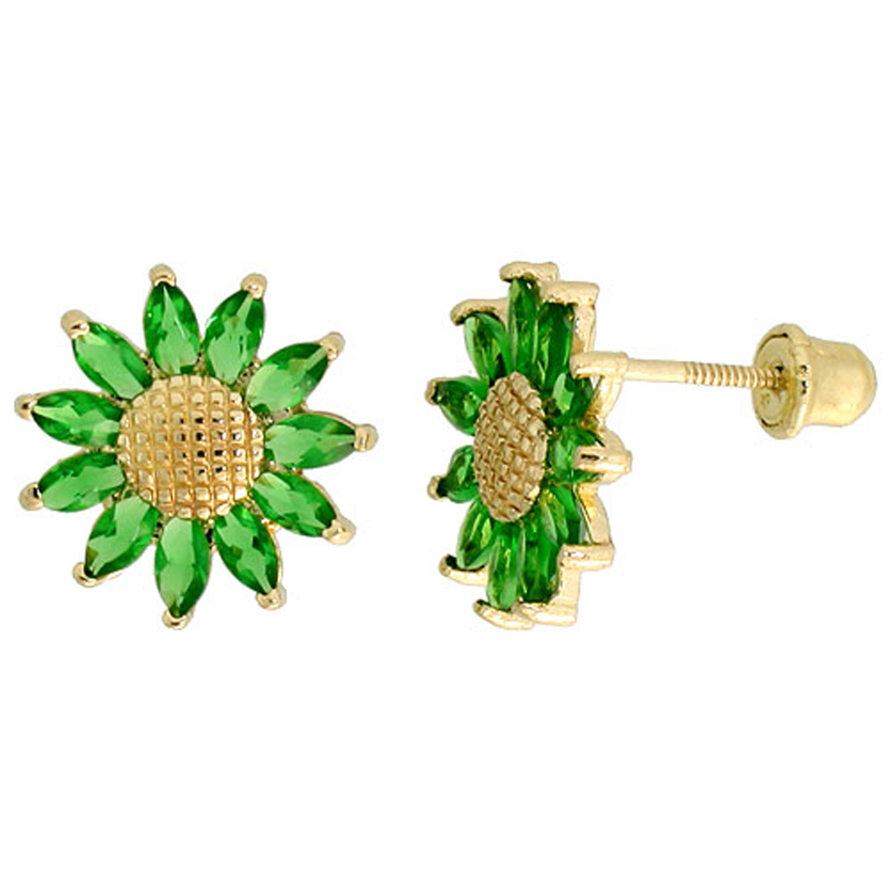 14k Gold Sunflower Stud Earrings Green Cubic Zirconia Stones, 3/8 inch (10mm)