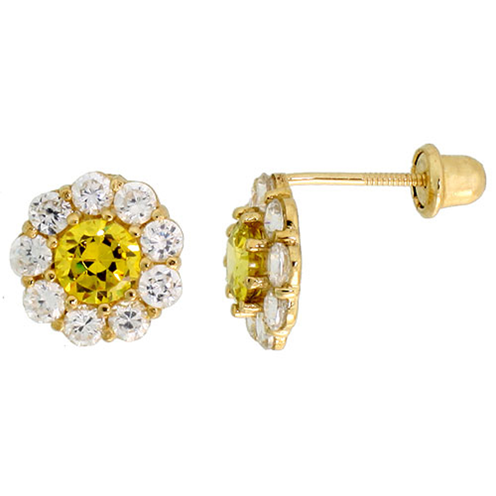 14k Gold Flower Stud Earrings Yellow & white Cubic Zirconia Stones, 5/16 inch (8mm)