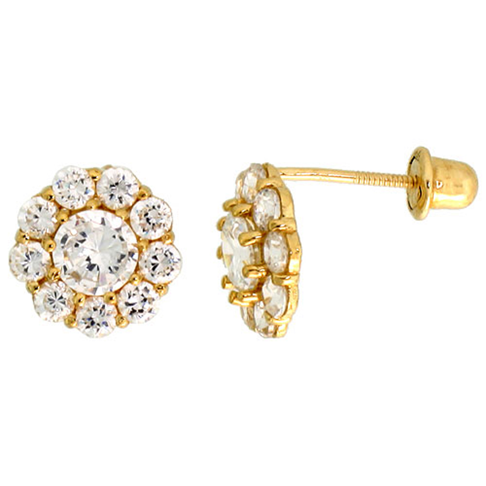 14k Gold Flower Stud Earrings White Cubic Zirconia Stones, 5/16 inch (8mm)