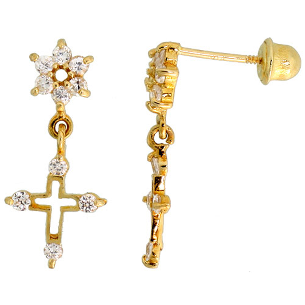 14k Gold Flower & Cross Dangling Earrings White Cubic Zirconia Stones, 11/16 inch (18mm)