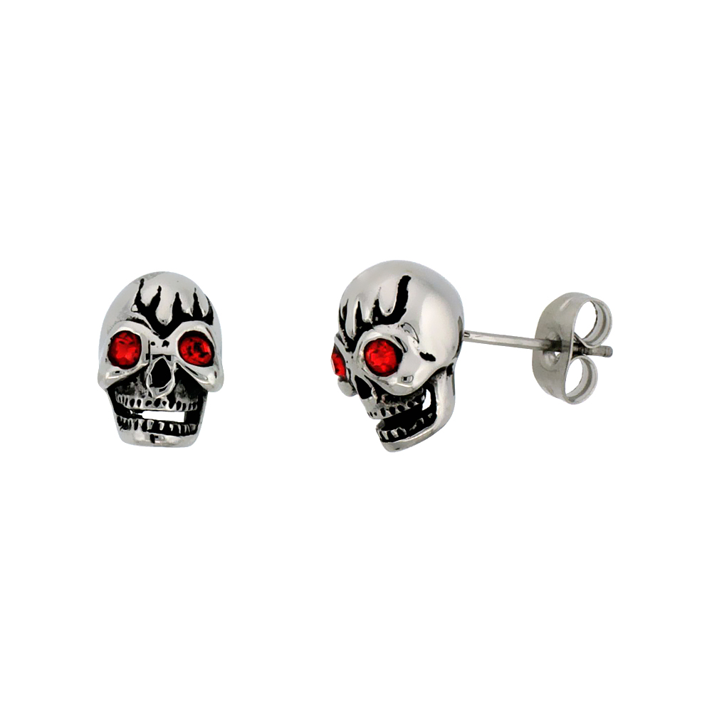 Stainless Steel Skull Earrings w/ Red Eyes, 1/2 inch