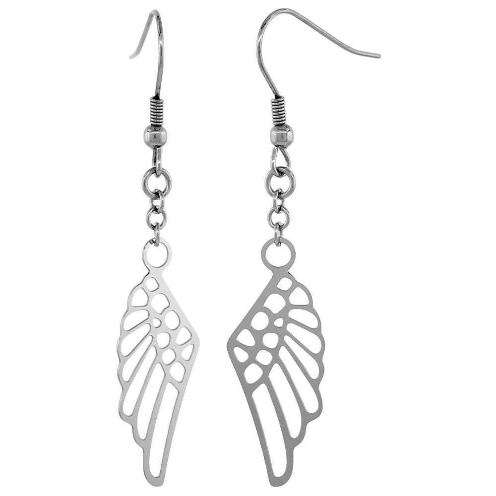 Surgical Steel Angel Wings Dangle Earrings 2 1/4 inch long