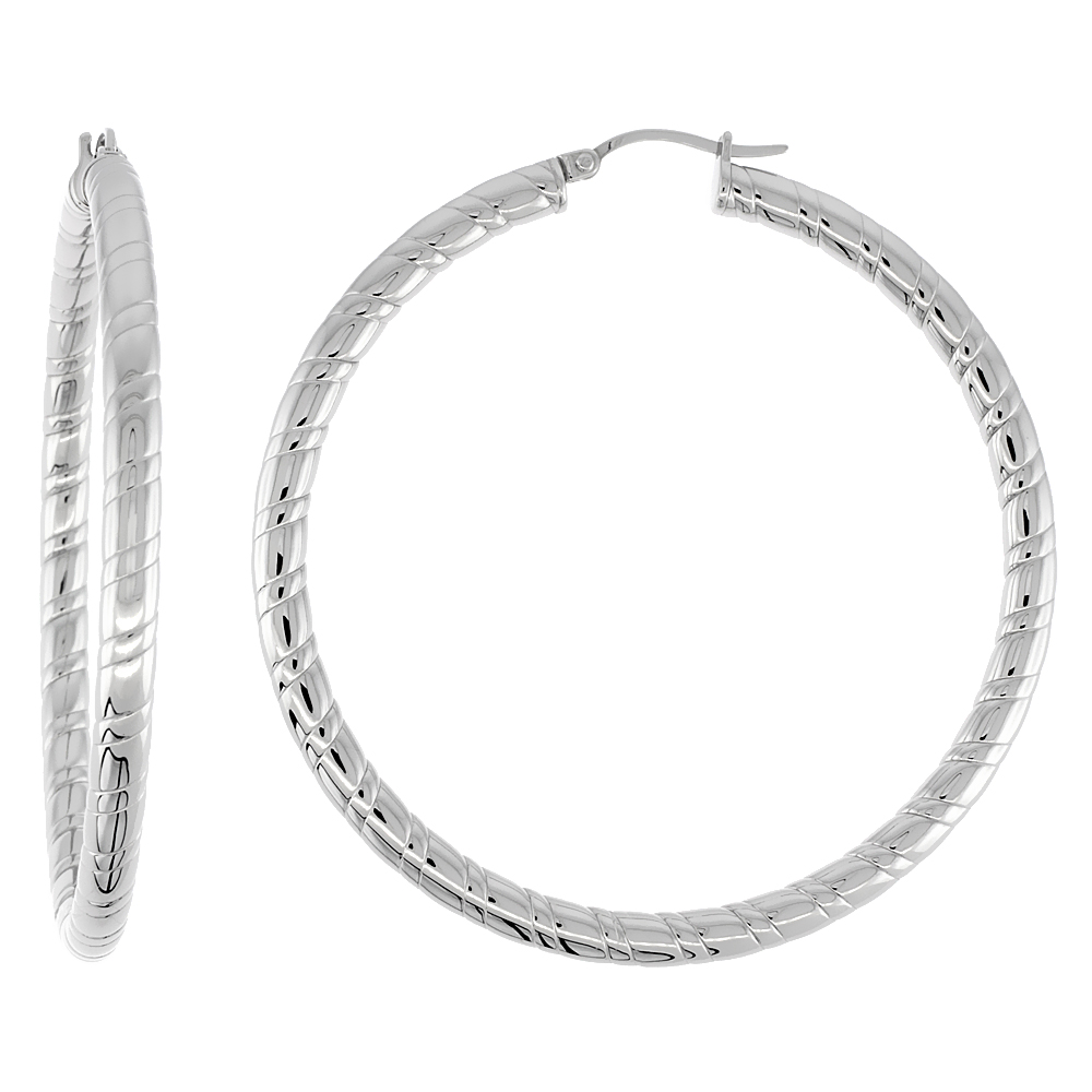 Stainless Steel Hoop Earrings 2 1/4 inch round 4 mm wide Candy Stripe Pattern Light Weightt