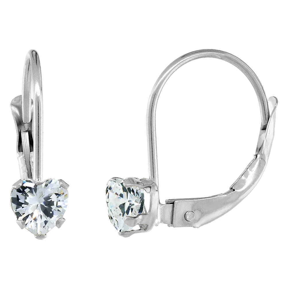 10k White Gold Cubic Zirconia Leverback Earrings 4mm Heart Shape 0.50 ct, 9/16 inch