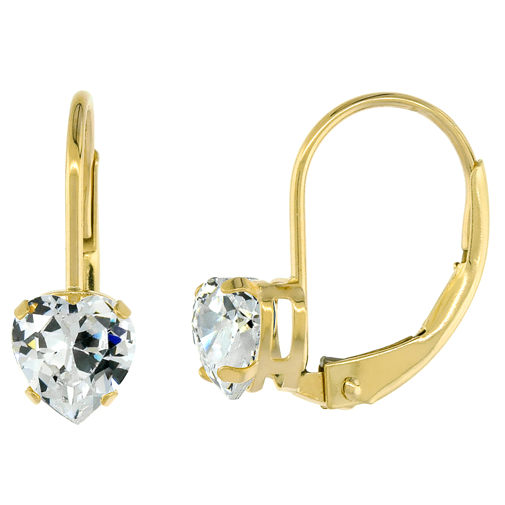 10k Yellow Gold Cubic Zirconia Leverback Earrings 5mm Heart Shape 1 ct, 9/16 inch