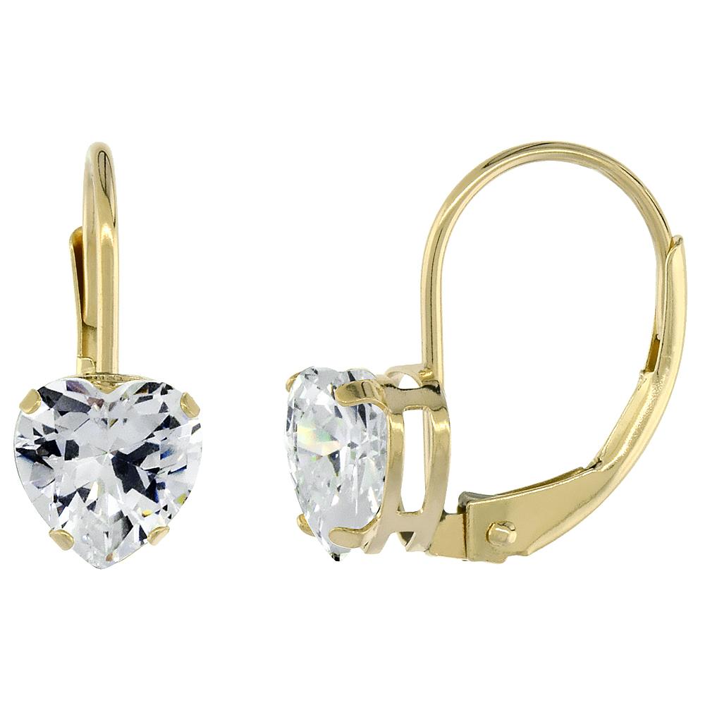 10k Yellow Gold Cubic Zirconia Leverback Earrings 6mm Heart Shape 1.5 ct, 9/16 inch