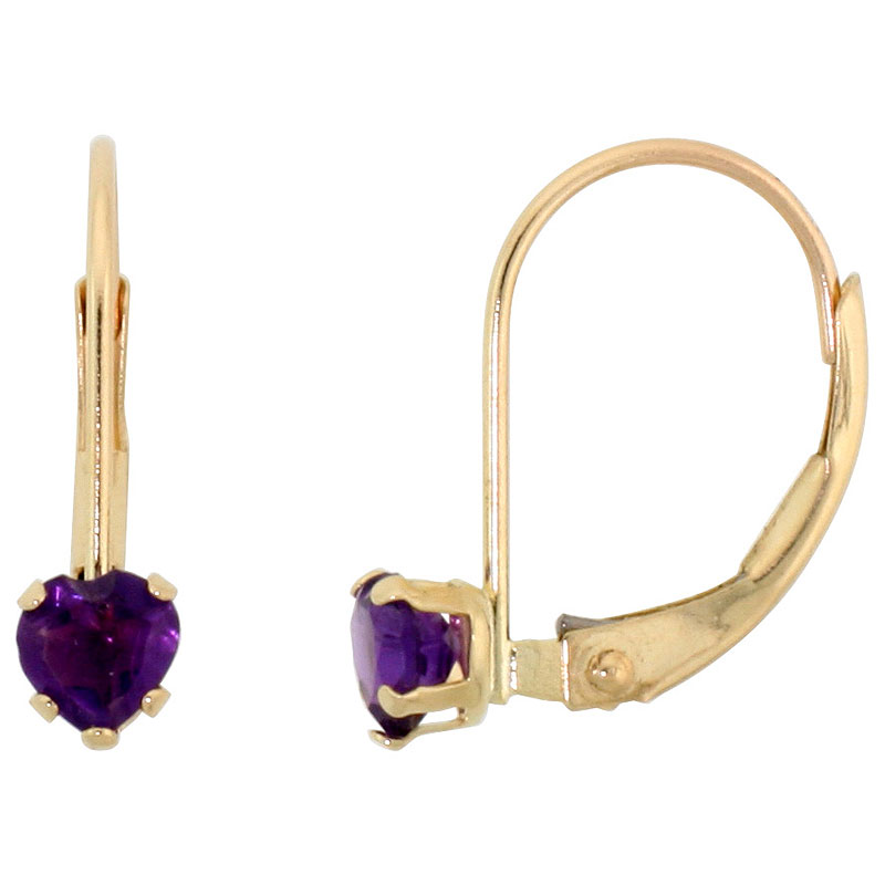 10k Yellow Gold Natural Amethyst Leverback Earrings 4mm Heart Shape 0.50 ct, 9/16 inch