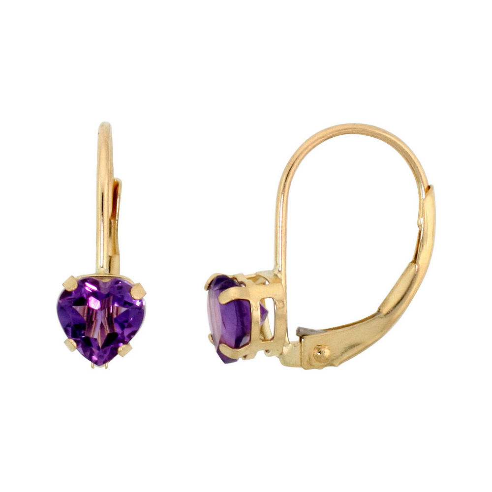10k Yellow Gold Natural Amethyst Leverback Earrings 5mm Heart Shape 1 ct, 9/16 inch