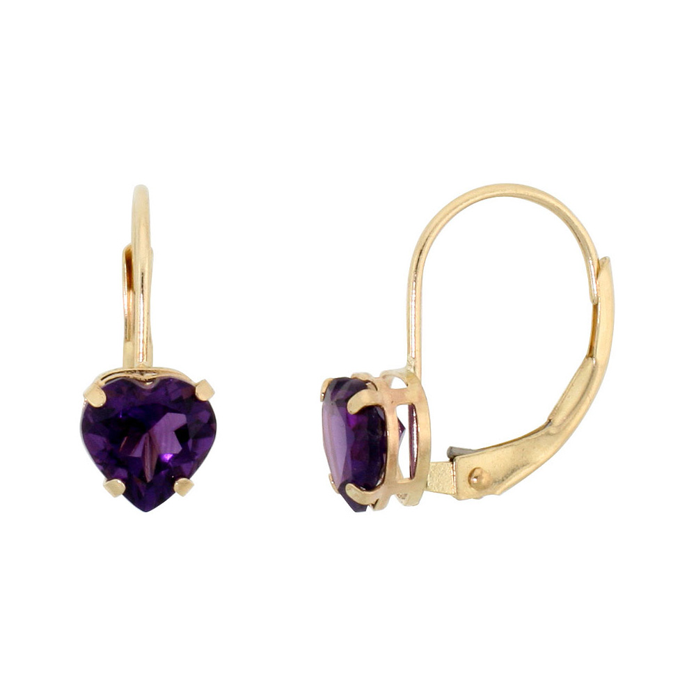 10k Yellow Gold Natural Amethyst Leverback Earrings 6mm Heart Shape 1.5 ct, 9/16 inch