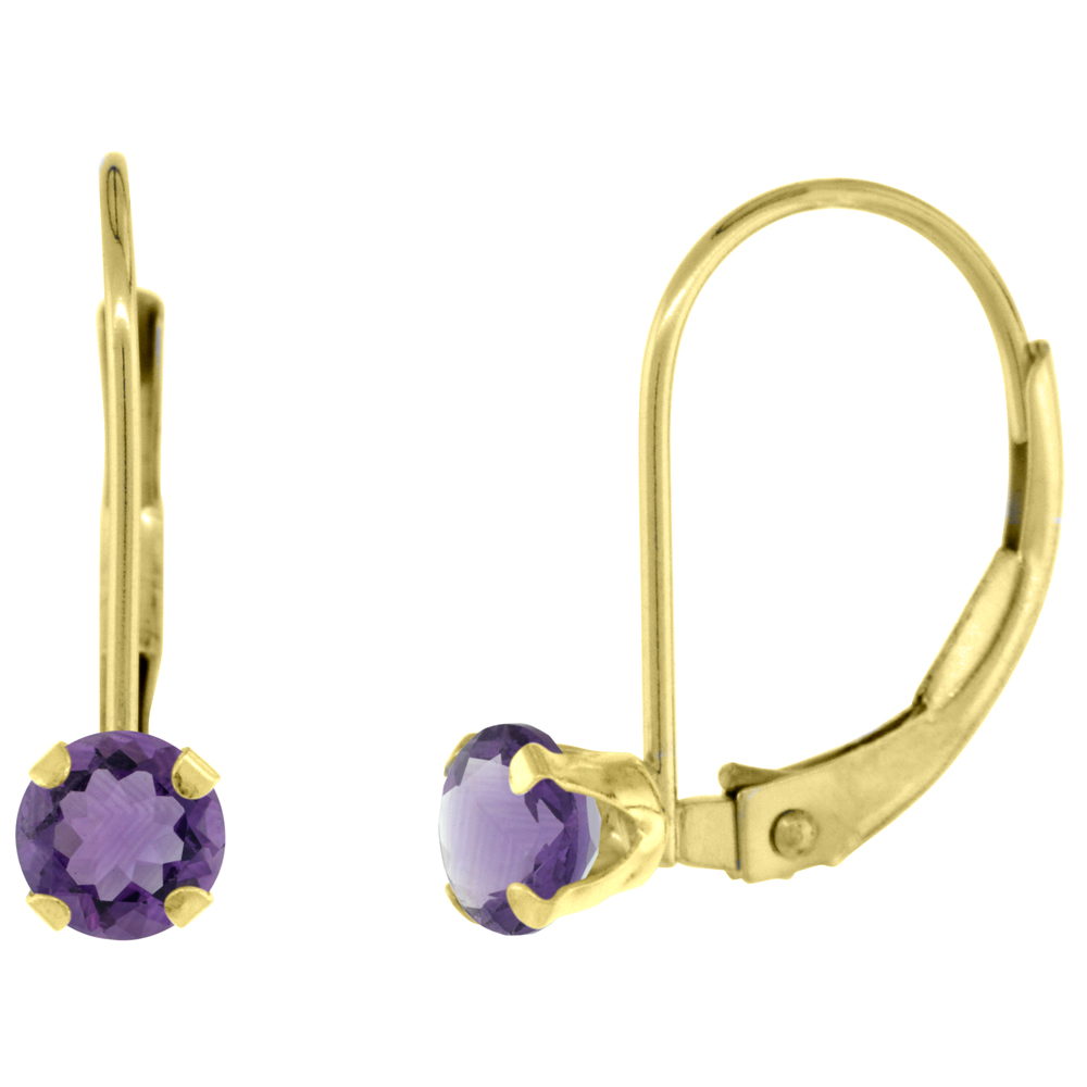 10k Yellow Gold Natural Amethyst Leverback Earrings 4mm Round 0.50 ct, 9/16 inch