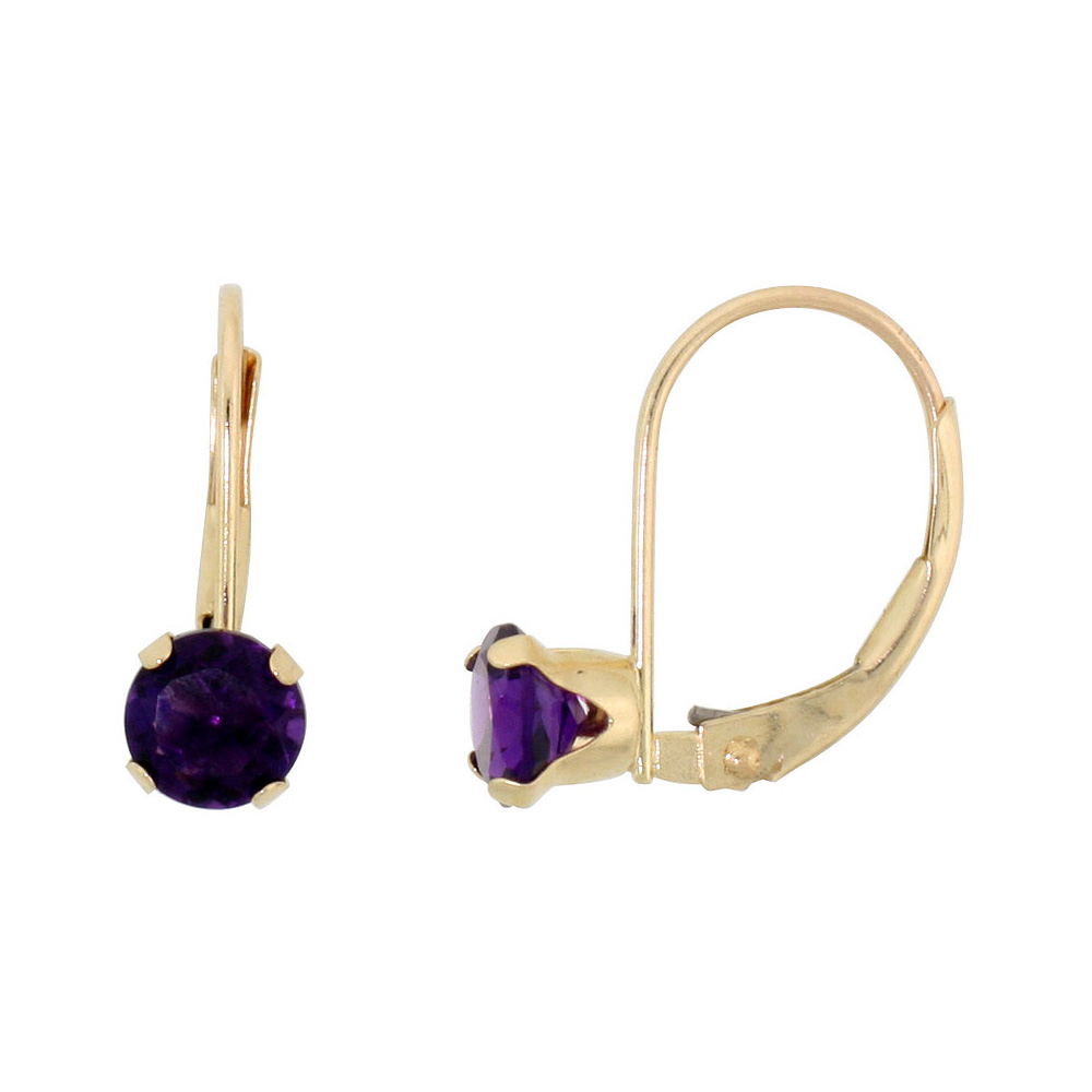 10k Yellow Gold Natural Amethyst Leverback Earrings 5mm Round 1 ct, 9/16 inch