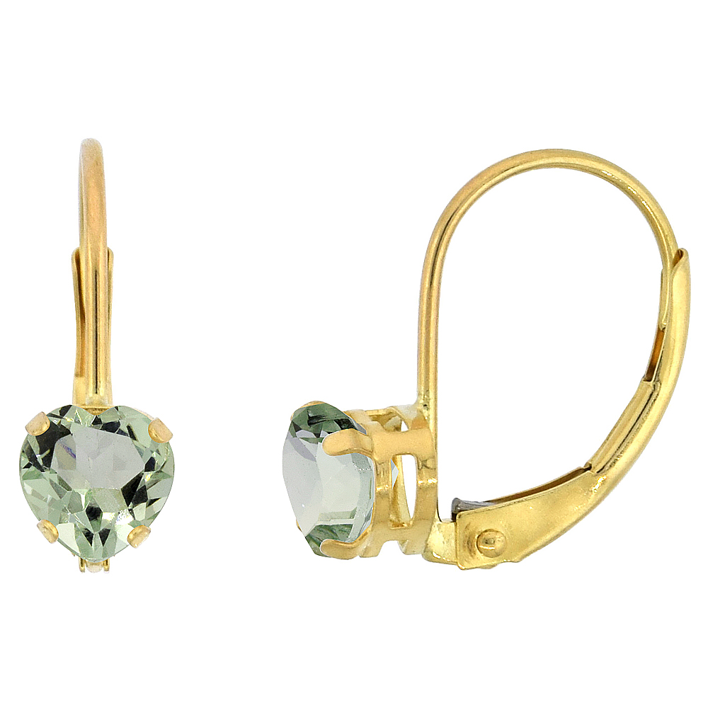 10k Yellow Gold Natural Green Amethyst Leverback Earrings 5mm Heart Shape 1 ct, 9/16 inch