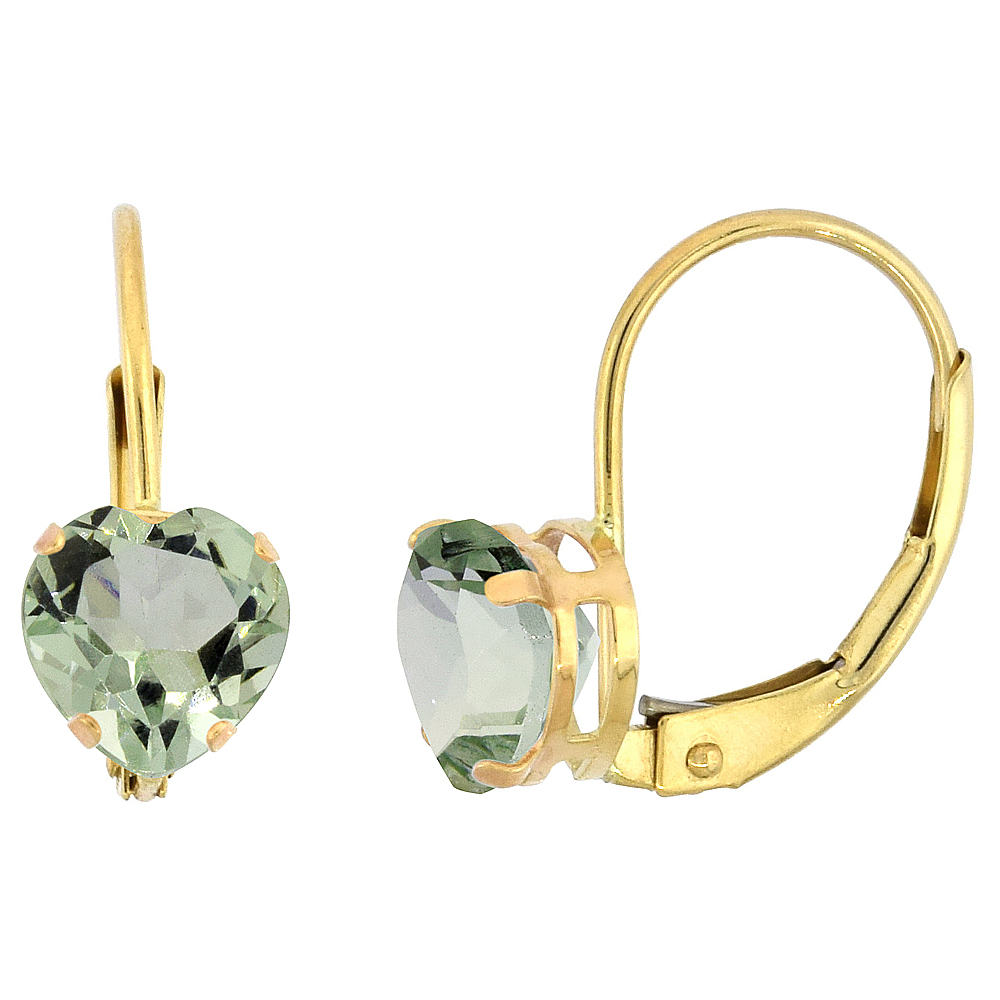 10k Yellow Gold Natural Green Amethyst Leverback Earrings 6mm Heart Shape 1.5 ct, 9/16 inch