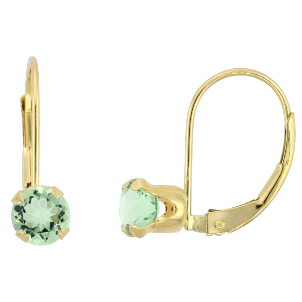 10k Yellow Gold Natural Green Amethyst Leverback Earrings 5mm Round 1 ct, 9/16 inch