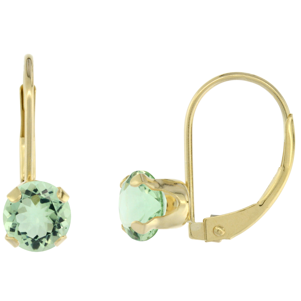 10k Yellow Gold Natural Green Amethyst Leverback Earrings 6mm Round 1.5 ct, 9/16 inch