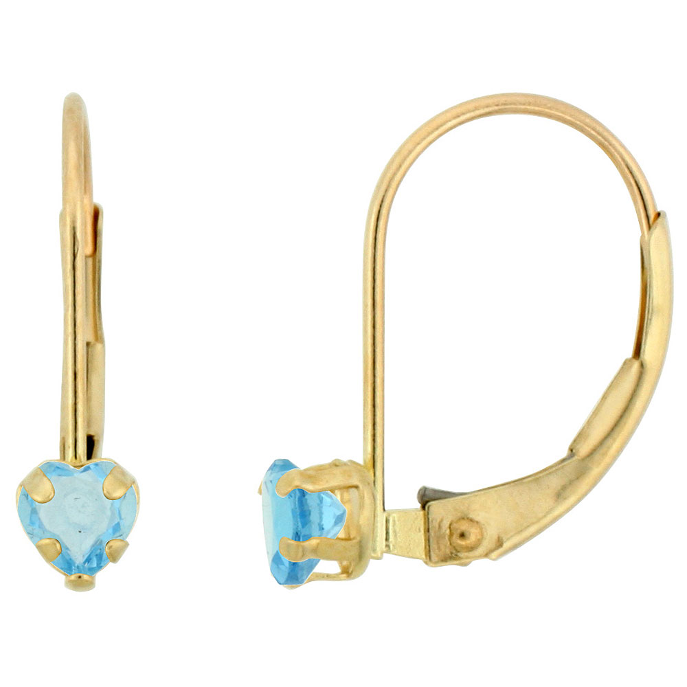 10k Yellow Gold Natural Blue Topaz Leverback Earrings 4mm Heart Shape 0.50 ct, 9/16 inch