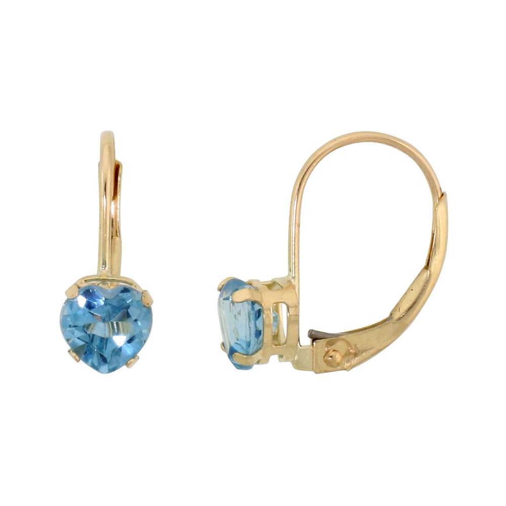 10k Yellow Gold Natural Blue Topaz Leverback Earrings 5mm Heart Shape 1 ct, 9/16 inch