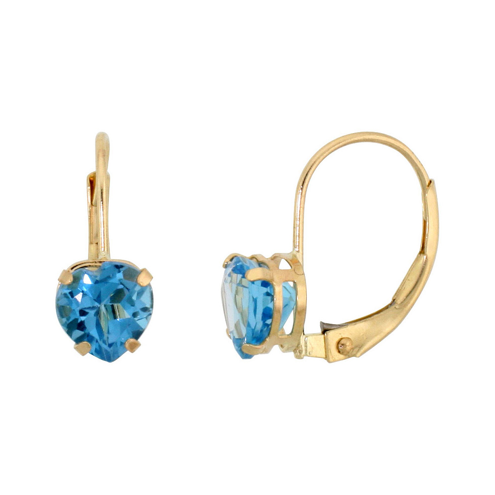 10k Yellow Gold Natural Blue Topaz Leverback Earrings 6mm Heart Shape 1.5 ct, 9/16 inch